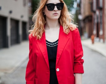 Vintage Red lightweight Woven Blazer with single button