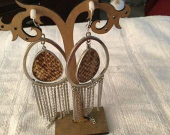 Beautiful brown and metal earrings