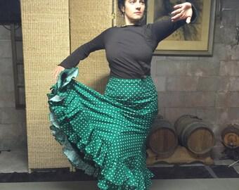 Flamenco dance skirt - green with white polka dots