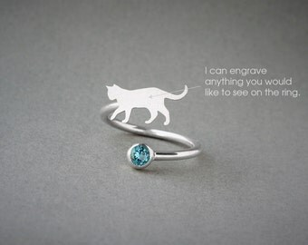 Adjustable Spiral SHORTHAIRED CAT BIRTHSTONE Ring / Cat Shorthaired Birthstone Ring / Birthstone Ring / Dog Ring