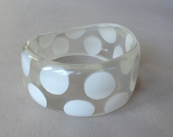 Clear Dotted Asymmetric Lucite Bangle Bracelet