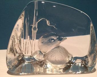 """Mats Jonasson Maleras Sweden Studio Crystal Art Glass Sculpture """"Duck in Grass"""""""