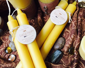 "100% Pure Beeswax Taper Candles. Set of 2 pure organic beeswax candles, 10"" elegant taper candles. They are dripless pure beeswax candles."