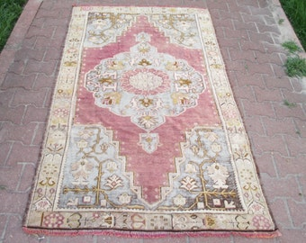 VINTAGE Cappodocia Tribal Turkish Handwoven Wool Rug Carpet  77 x 46' inches