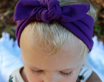 solid purple top knot headband