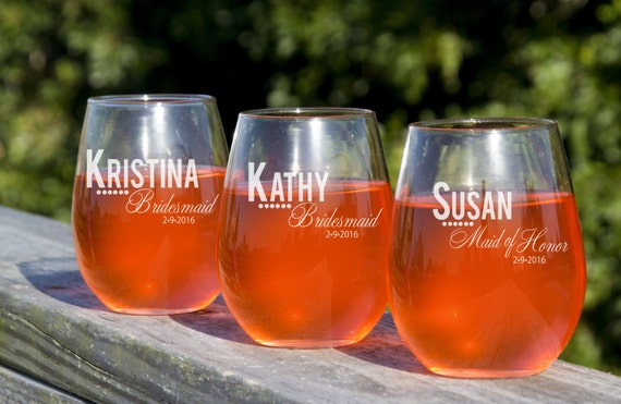 Etched Wine Glasses Wedding Gifts : Wine Glasses, Custom Engraved, Toasting Glass, Wedding Party Favors ...