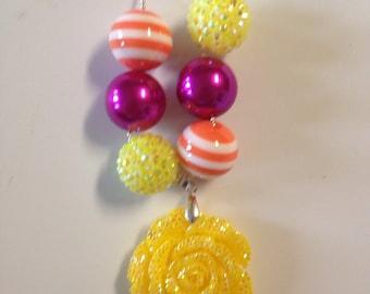 Fall rose ballchain necklace