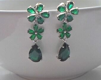 Stunning Emerald Green Cubic Zirconia Drop/Stud Earrings Platinum Plated 40mm long - Bridesmaid/Wedding/Races