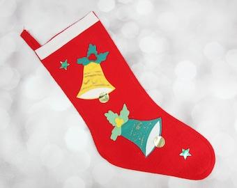 Vintage Red Felt Christmas Stocking. See item details for full description.