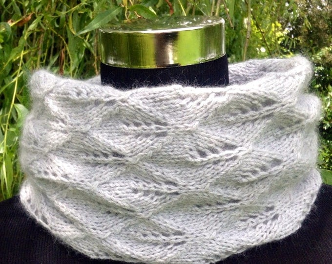 NEW cashmere lace knit grey snood, doubles as a cosy neck warmer by Willow Luxury