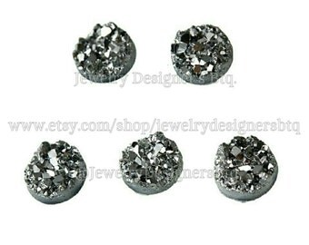 8mm Gunmetal Druzy Cabochons Faux Drusy Bronze Cabochon Resin Embellishment Jewelry Supplies Earring Findings Cameo Settings Kawaii Supply
