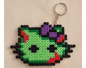 Zombie Hello Kitty Inspired Hama Bead Keychain