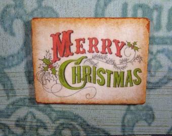 SaLe!!  DOLLHOUSE miniature Sign 1:12 CLASSIC Antique Merry Christmas home WALL decor