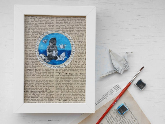Original: Paper Craneprint, Art Print for bookworms, picture origami crane white,  book page, girl folding paper crane, birthday Gift, bird