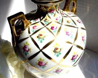 ON SALE Hand Painted Oscar and Edgar Gutherz Royal Vase - Austria, OE Gutherz, Hand Painted Porcelain, Vintage Porcelain Vase,Vintage Decor