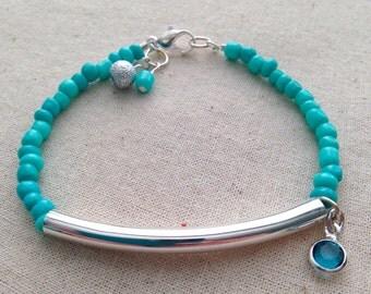 Turquoise bracelet, Silver Bar Bracelet, Charm Bracelet, Seed Bead Bracelet, Beaded Bracelet, Turquoise Ribbon, Addiction Recovery Awareness