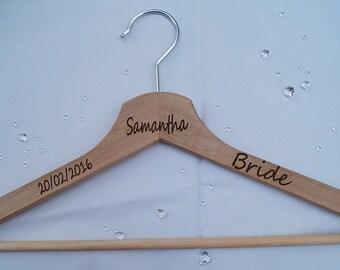 Personalised wooden clothes hanger, coat hanger, bridal gift, wedding day gift, wedding party gift, grooms suit hanger, brides dress hanger,