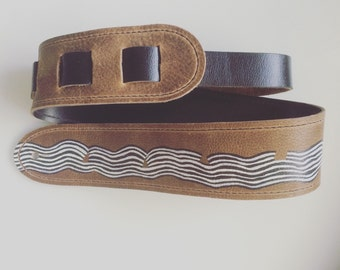 "Raven Guitar Straps : Leather Guitar Strap ""Space Waves."""