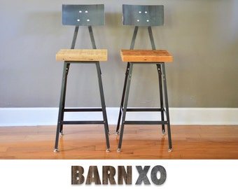 Urban Bar Stools | Reclaimed Barn Wood | Metal Backrest |Set of 2 | Fast Shipping