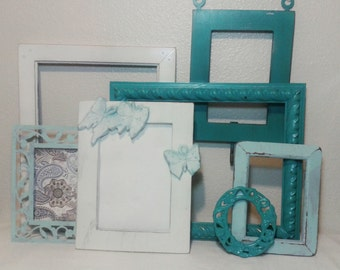 Hand Carved Butterfly Frame/ Distressed Frame Set / Turquoise and White Frame Collection / Picture Frame Set/ Gallery Wall Painted Frames