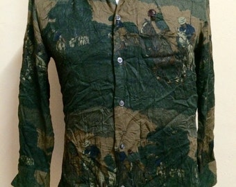 Vintage POLO Ralph Lauren 100% Rayon All Over Print Shirt Womens's