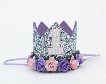 1st birthday crown , sophia birthday hats, birthday party hat, birthday photo prop, silver hat,baby birthday, 3rd birthday hat, lilac pink