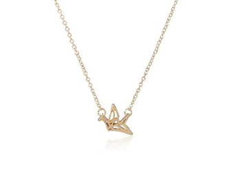 SALE... Origami Crane Necklace, Dainty, Delicate