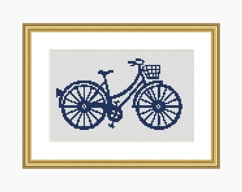 BIKE SILHOUETTE cross stitch pattern, Modern cross stitch, PDF download cross stitch chart