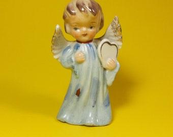 Vintage Angel Figurine, Porcelain Ceramic Angel Figurines, Real Gold Accents, Home Decor
