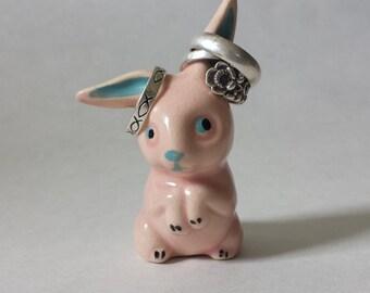 Vintage Rabbit Ring Holder, Pink Bunny Figurine