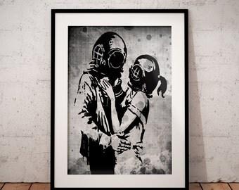 Banksy poster, Urban Art print, Graffiti art,  Banksy art print, banksy stencil  art wall art