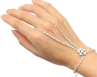Rhinestone Hand Bracelet Finger Palm Bracelet