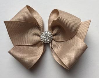 Girl hair bow, hair clip, baby hair bow, bling bow, toddler hair bow, tan hair bow, tan bow, crystal bling bow, girls hair bow