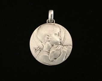 antique french infant baby jesus and lamb medallion little jesus and the sheep