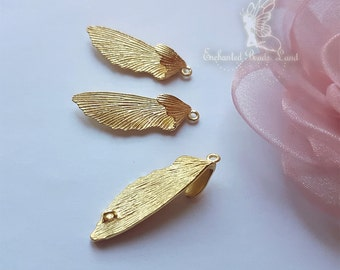 4pc Solid Brass Insect Wings 3D Pendant Charm Golden Color