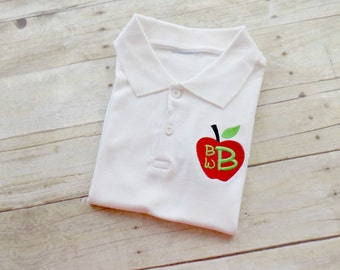 Boys Back to School Polo, Boys Back to School Shirt, Toddlers Apple Polo shirt, Boys Monogram Polo, Monogrammed, Personalized, Embroidered