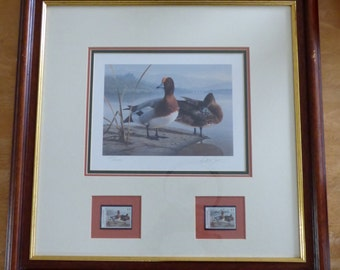 Daniel Smith, Signed Limited Edition Print & Signed Postage Stamp, 'European Widgeon'.