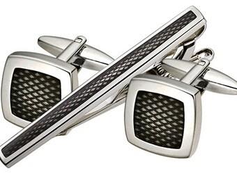 Carbon Fiber Cuff Links/ Tie Bar set (SSCT-25)