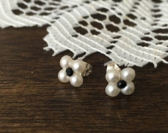 faux pearl flower earrings