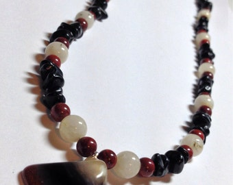 Red, Black, and White Bracelet and Necklace Set, includes Red Jasper Gems