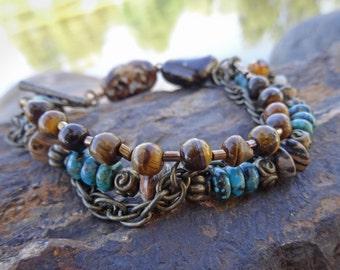 Turquoise and Tiger Eye MultiStrand Bracelet
