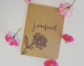 Chrysanthemum hand-illustrated mini journal notebook handlettered blank inside