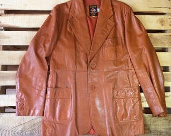 Men's 70s L XL 44 <> Pumpkin Brown Leather Blazer Jacket <> NIELOPORT <> Hippie Boho Classic