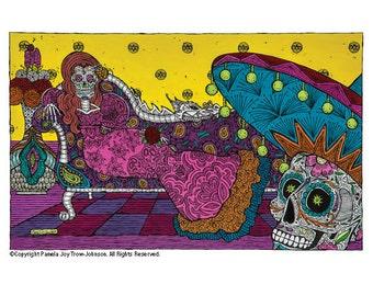 Art Print Day of the Dead The Visit–La Visita 12 x 16 OverallSugar Skull