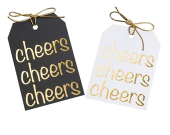 Gold foil cheers tags - Wedding shower gift tags - Gold baby shower - Graduation gift - Tags with ties - Favor celebration - Birthday party