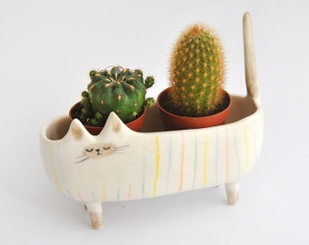 Ceramic Siamese Cat Planter. Siamese Cat Bowl Decorated with Multicolor Stripes. Ready To Ship