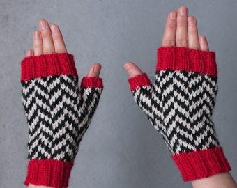 Twin Peaks / Black Lodge Gloves / fingerfreie Handschuhe, handgestrickt, Damen Größe M, Wolle, chevron