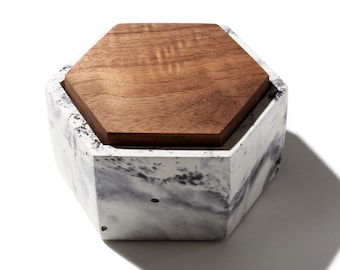 Marbled Hexagon Concrete Box with solid Walnut lid / Minimalist, Modern Home Decor, Jewelry Box, Container
