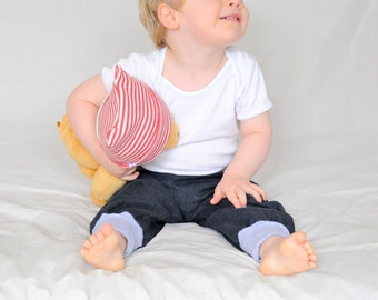 Toddler pants from organic denim, blue sarouel pants, baggy trousers