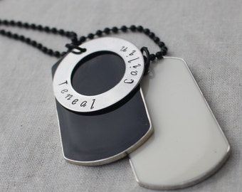Men's Dog Tag Personalised Circle Necklace
